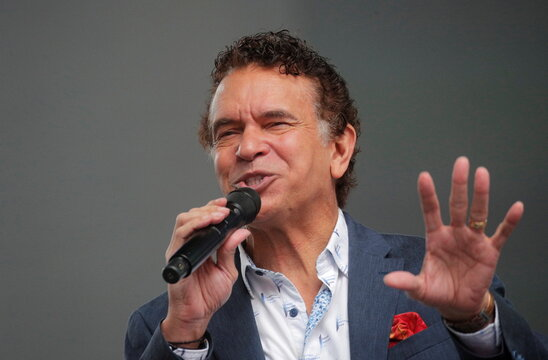 Actor Brian Stokes Mitchell participates in the Broadway League's the 'Curtain Up! Broadway is Back' Kick-Off event in Times Square in New York