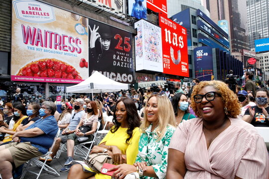 Guests attend the Broadway League's the 'Curtain Up! Broadway is Back' Kick-Off event in Times Square in New York