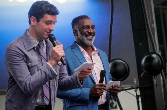 Actors Michael Urie and Norm Lewis participate in the Broadway League's the 'Curtain Up! Broadway is Back' Kick-Off event in New York