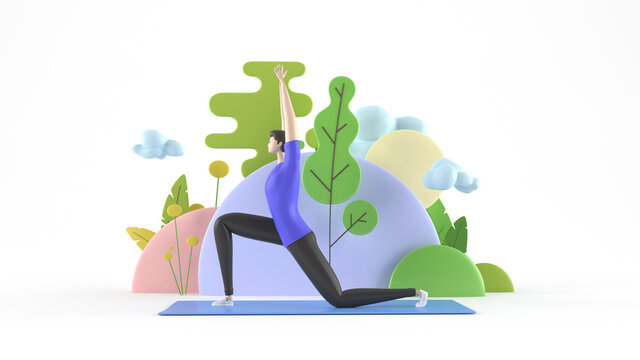 3d illustration. A young, healthy yoga man practitioner standing in asana on a yoga mat, meditating, with a background of trees and abstract figures.