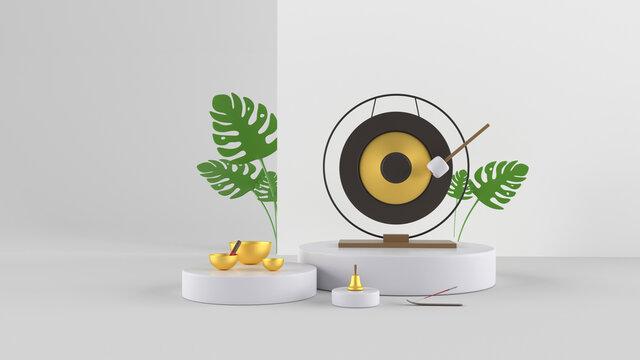Modern 3d illustration. Set of musical instruments for yoga and meditation on white background. Gong, Tibetan singing bowl, bell, incense, green plants.