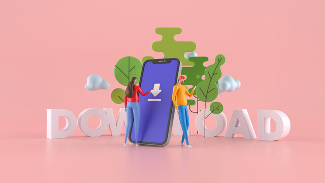 3D illustration. A man and a woman standing near a large cell phone . Concept download application