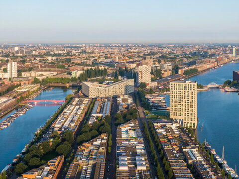 Aerial view of Sporenburg residential disctrict in Amsterdam