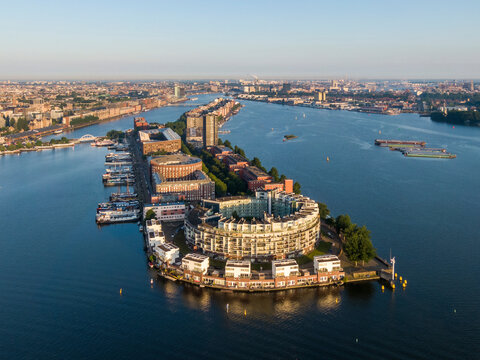 Aerial view of KNSM island and Emerald Empire building in Amsterdam
