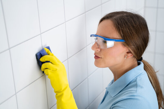 Tile Wall Grout Cleaning With Sponge
