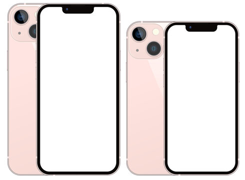 Anapa, Russian Federation - September, 17, 2021: New Pink finish Color Iphone 13 and Iphone 13 Mini, Front and back side. Smartphone mock up with white screen. Illustration for app, web, presentation
