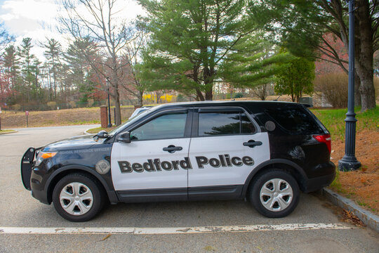 Ford Police Interceptor Utility SUV car in Middlesex Community College in town of Bedford, Massachusetts MA, USA.