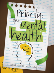 Fototapeta Paper with Doodles Reminding at You World Mental Health Day, Vector Illustration obraz