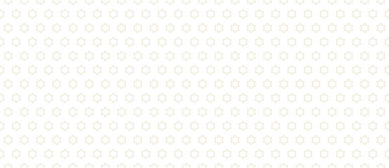 Fototapeta Simple minimalist seamless pattern. Subtle vector minimal geometric texture. Abstract golden background with small outline stars. Delicate gold and white ornament pattern. Luxury decorative geo design obraz