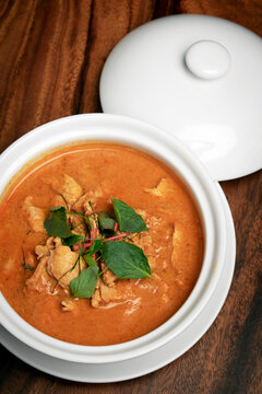 thai spicy panang pork curry with coconut milk