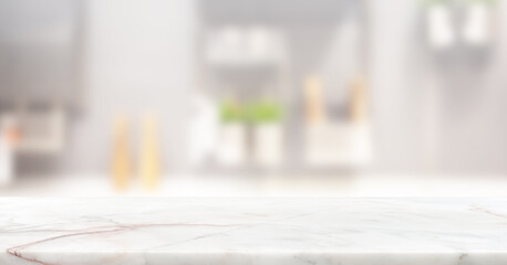 marble stone counter top table with blur white kitchen room background