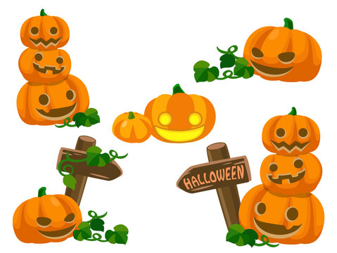 ジャックオランタンのセット(かぼちゃのランプ) ハロウィン素材のアイコン/イラスト素