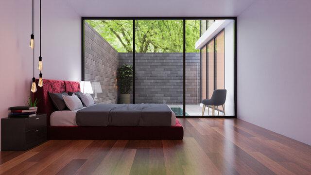 3D rendering bedroom interior design near the window.