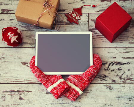 Tablet on Christmas background