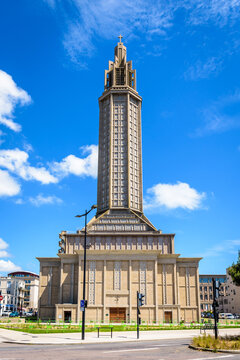 Le Havre, France - June 10, 2021: Front view of St Joseph church and its emblematic lantern tower, a modern catholic church made of concrete, built in 1957 after french architect Auguste Perret.