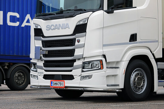 White Scania R500 Heavy Truck Front Detail.