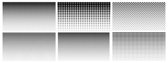 Obraz Halftone gradient. Dotted gradient, smooth dots spraying and halftones dot background seamless horizontal geometric pattern vector template set - fototapety do salonu