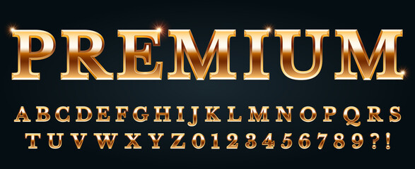 Obraz Premium golden font. Luxury alphabet, numbers and punctuation marks. Metal gold chic and glossy typography - fototapety do salonu