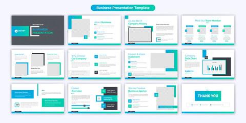 Fototapeta Creative business powerpoint presentation slides template design. Use for modern keynote presentation background, brochure design, website slider, landing page, annual report, company profile obraz