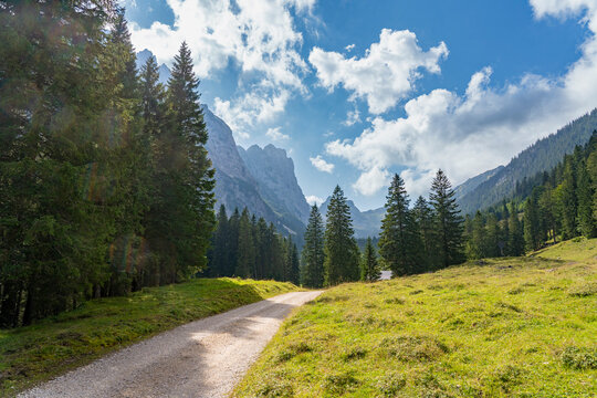 awesome mountain landscape in the Raintal Valley, a side valley of Lechtal Valley near city of Reutte in Tyrol, Austria