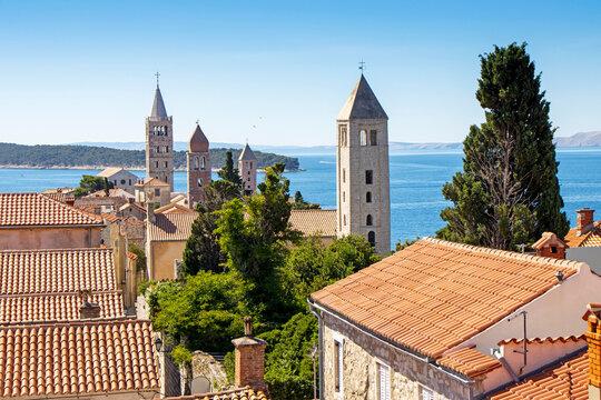 Famous Beautiful Rab town on Rab island in Croatia