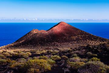 Mountain of Lagi, a volcano cinder cone in the Island of La Palma, one of the Canary Islands, in the Cumbre Vieja volcano area near Teneguia volcano. Windmill farm