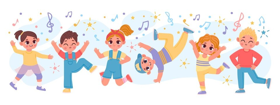 Happy cartoon children group dancing and jumping together. Fun active kid friends play. Kindergarten characters at dance party vector banner