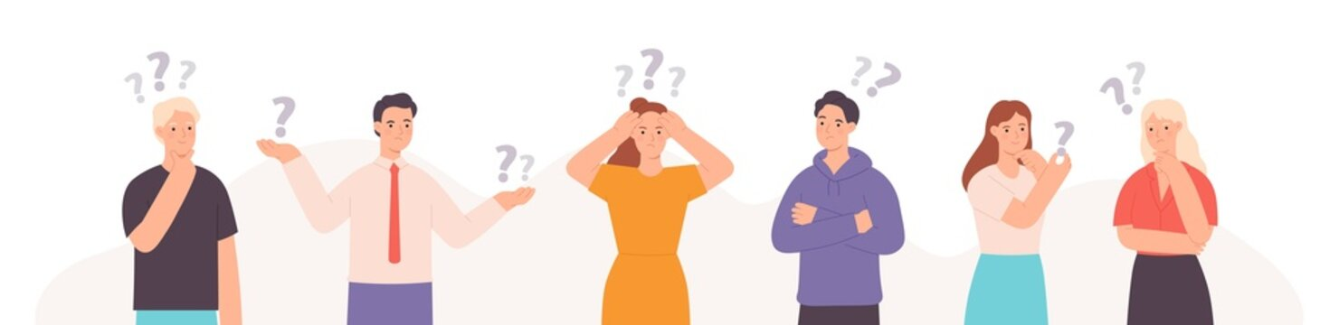 Group of thinking, indecisive and confused flat people with questions. Smart characters team solve problem, trouble or puzzle vector concept
