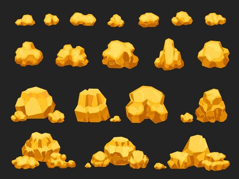 Cartoon gold mine nuggets, boulders, stones and piles. Natural shiny solid golden rock heap. Jewel nugget icons for miner game vector set