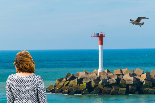 Woman and Seagull at Lighthouse
