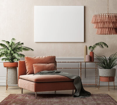 Mock Up poster in  Living room summer style, palms, and home decoration, 3d illustration