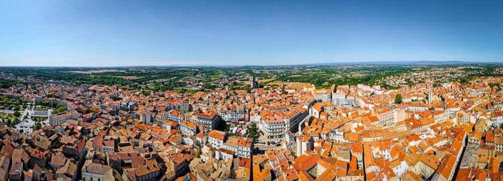 The aerial view of Béziers, a subprefecture of the Hérault department in the Occitanie region of Southern France