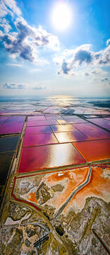 The aerial view of salt production in Camargue, Salin-de-Giraud, France