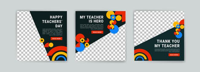 Obraz Social media post template for World Teachers Day. - fototapety do salonu