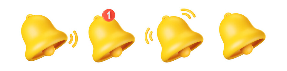 Fototapeta 3d notification bell icon set isolated on white background. 3d render yellow ringing bell with new notification for social media reminder. Realistic vector icon obraz