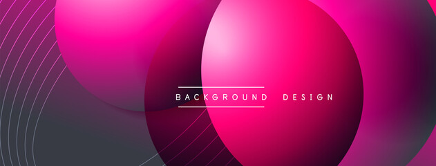 Fototapeta Gradient circles with shadows. Vector techno abstract background. Modern overlapping forms wallpaper background, design template obraz