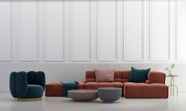 Modern luxury living room interior and furniture decoration and wall pattern background
