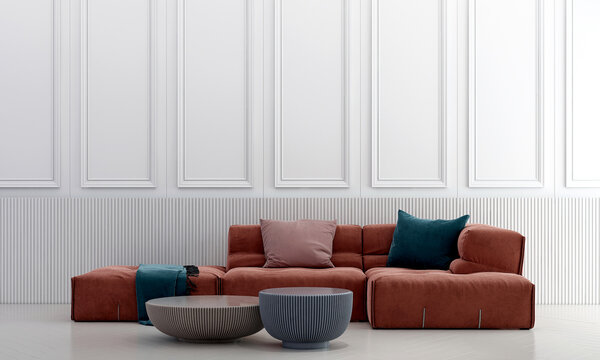Modern living room interior and furniture decoration and empty wall pattern background