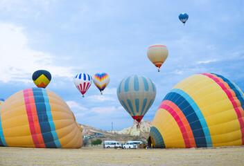 Hot air balloon launch point in Cappadocia, Turkey
