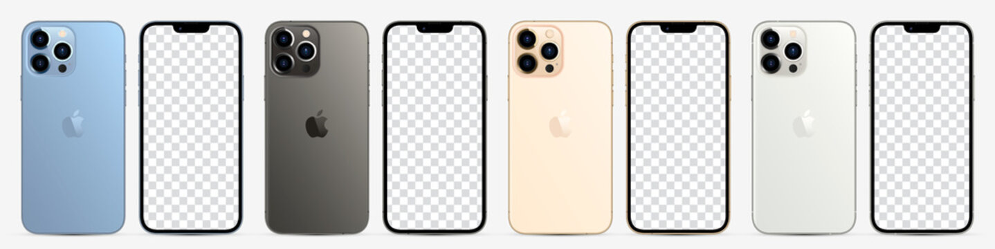 New iphone 13 pro / pro max in four colors (Sierra Blue, Graphite, Gold, Silver) by Apple Inc. Mock-up screen iphone and back side iphone. Vector illustration Ai10, EPS10