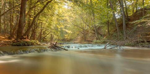 wodospady na rzece Tanew w rezerwacie przyrody