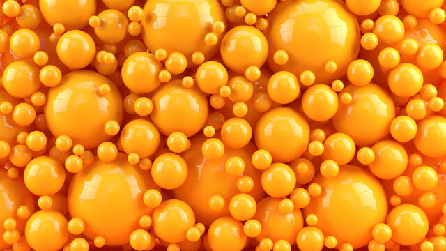 Abstract background with orange spheres balls in different sizes - 3d rendering