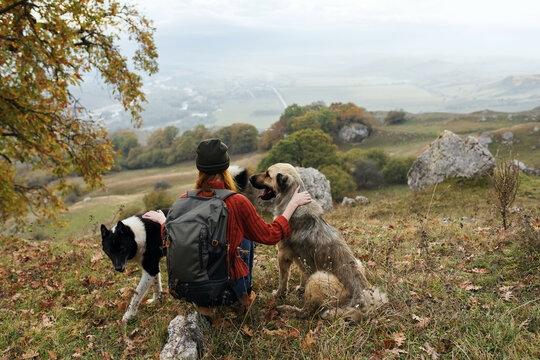 woman travels in the mountains with a dog walk friendship autumn