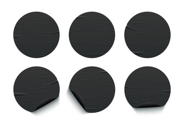 Obraz Glued round black stickers set isolated on white background. Vector realistic crumpled posters bundle. Empty advertising circles mockup - fototapety do salonu