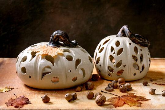 Halloween decorations, hand crafted ceramic pumpkins