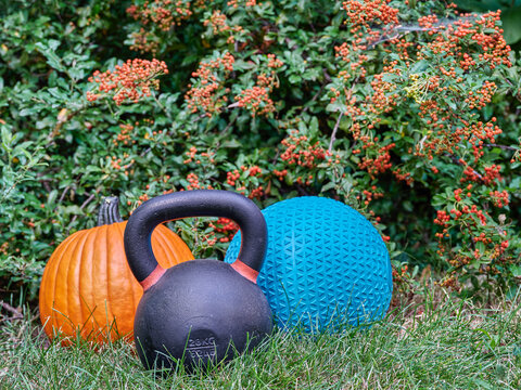 iron kettlebell, rubber slam ball filled with sand and pumpkin in a backyard, home gym, exercise and fitness concept during fall season