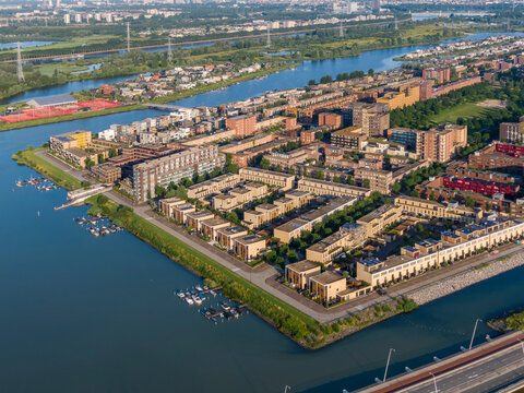 Aerial view of IJburg residential district in Amsterdam