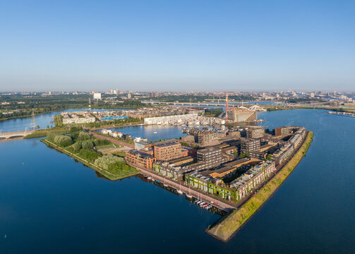 Aerial view of Steiger island and new residential district in Amsterdam