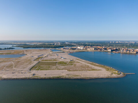 Aerial view of the new artificial islands near IJburg residential district in Amsterdam
