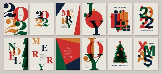 Obraz Set of creative colorful cards, flyers, posters for 2022 New Year. Numbers design. Christmas greetings. - fototapety do salonu